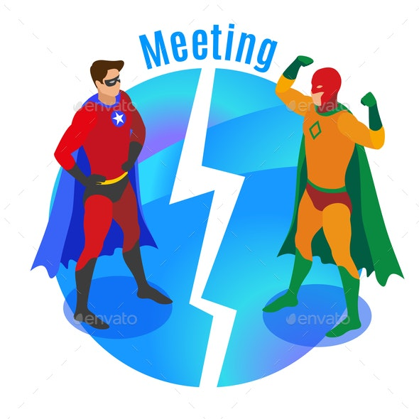 Super Heroes Meeting Isometric Illustration - People Characters