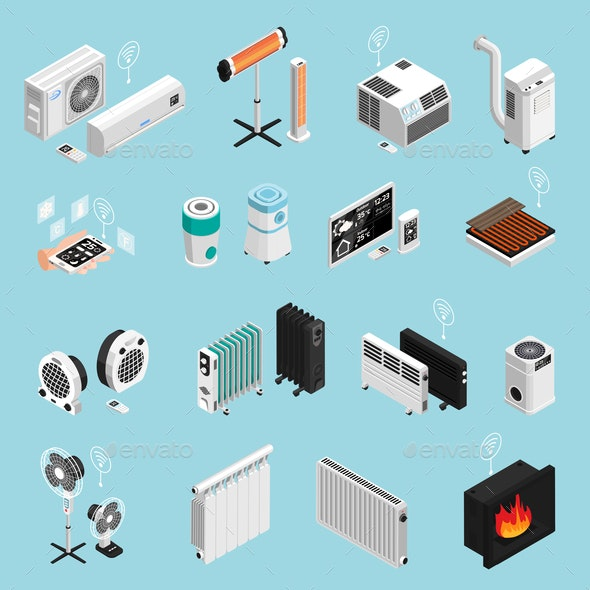 Home Climate Isometric Set - Communications Technology