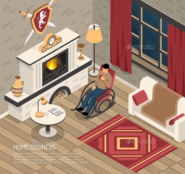 Fire Place Cosiness Isometric Illustration - Miscellaneous Vectors