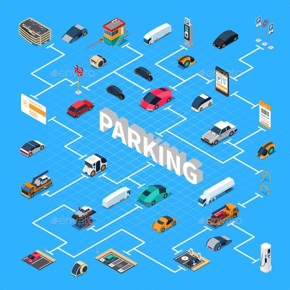 Parking Isometric Flowchart - Miscellaneous Vectors
