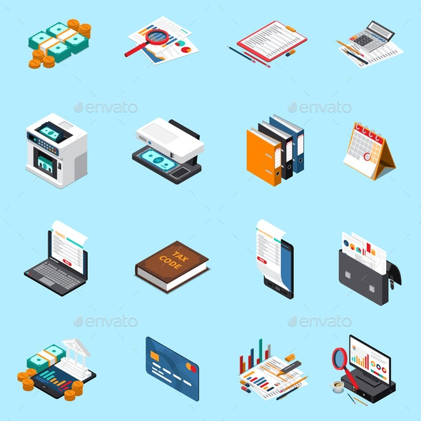 Accounting Tax Isometric Icons - Backgrounds Decorative