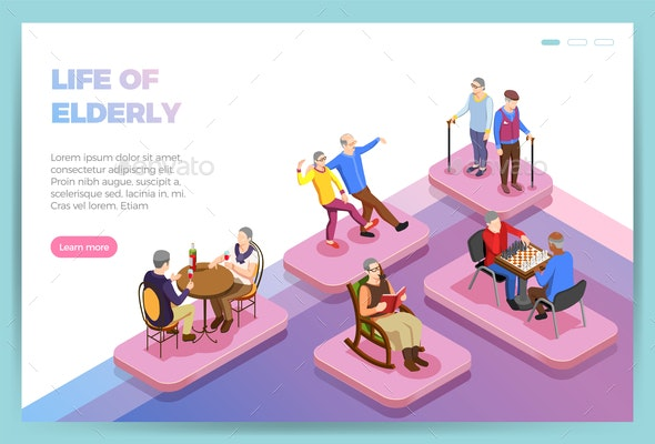 Elderly People Isometric Web Page - People Characters