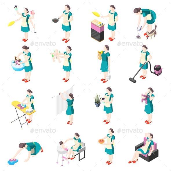 Tortured Housewife Isometric Icons - People Characters