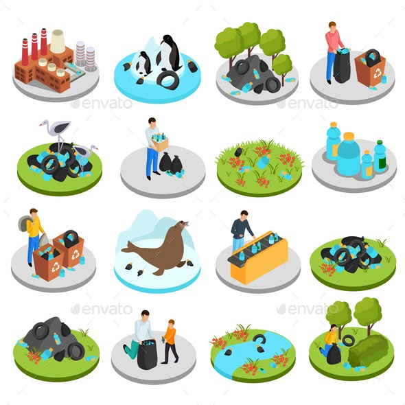 Pollution Isometric Icons Collection - Industries Business