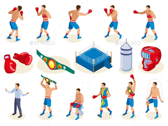 Isometric Boxers Icon Set - Sports/Activity Conceptual