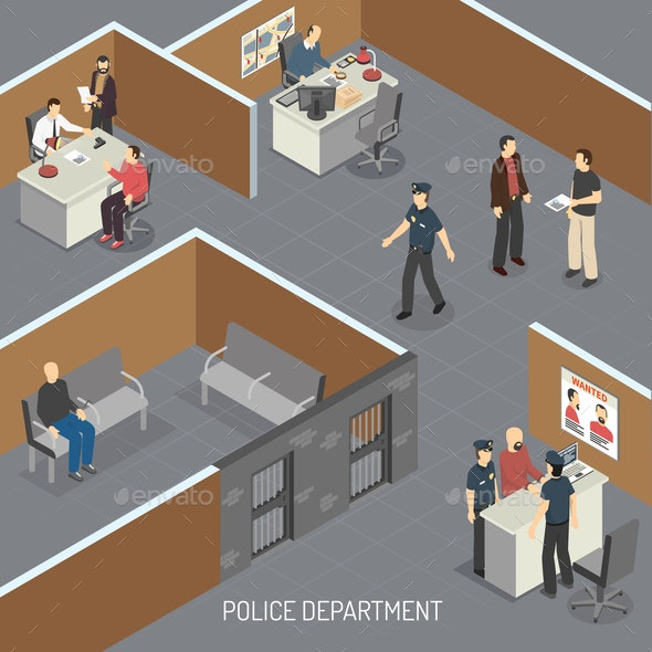 Law Justice Isometric Composition - Miscellaneous Vectors