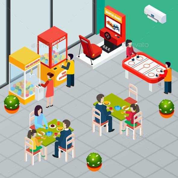 Game Machine Isometric Illustration