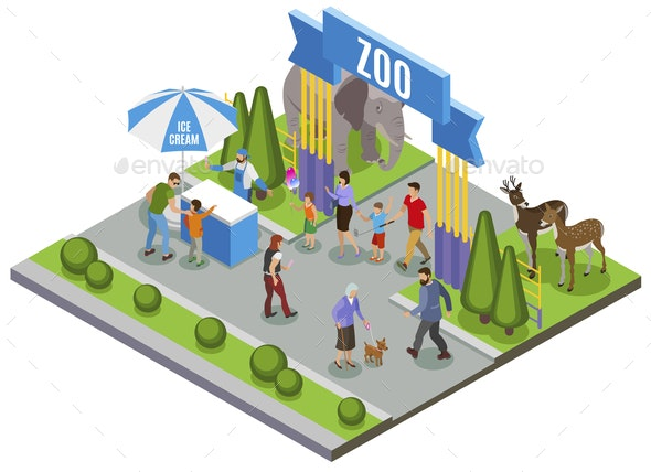 Isometric Zoo Entrance Composition - Animals Characters
