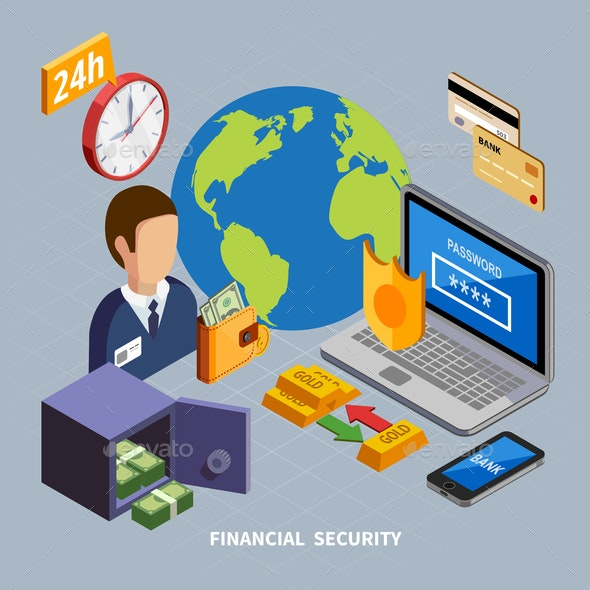 Financial Security Isometric Composition - Miscellaneous Conceptual