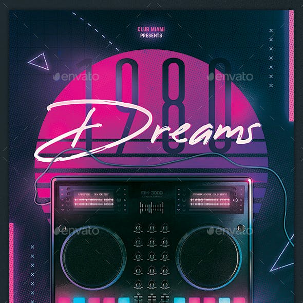 80s Flyer Retrowave Poster Synthwave DJ Disco Dance Party