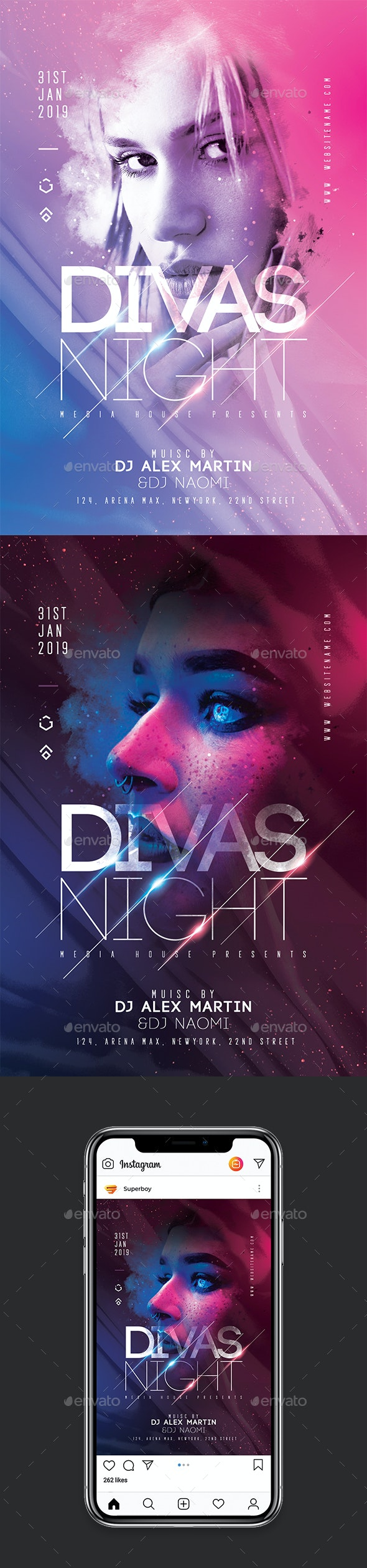 Divas Night Party Flyer - Clubs & Parties Events