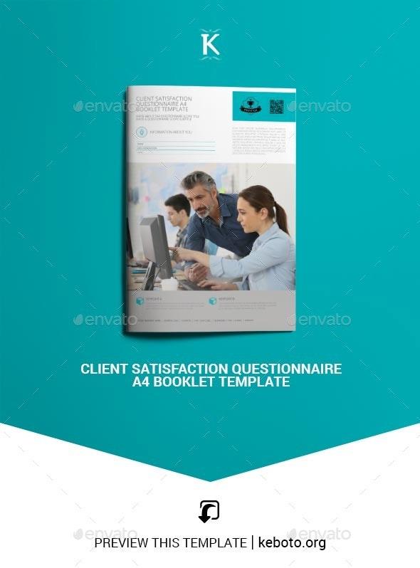 Client Satisfaction Questionnaire A4 Booklet Template - Miscellaneous Print Templates