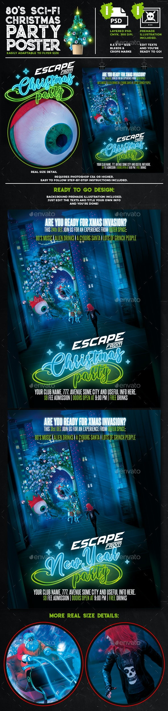 Escape From Christmas 80's Sci-Fi Themed Holidays Poster - Holidays Events
