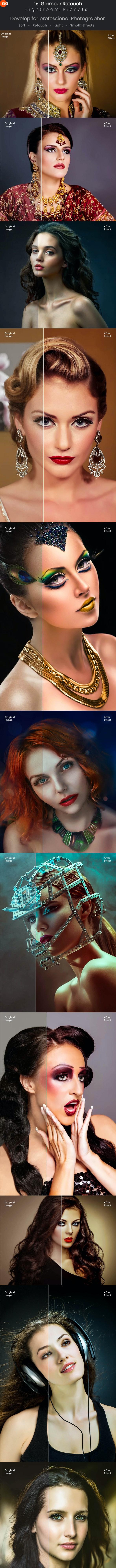 15 Glamour Retouch Lightroom Presets - Portrait Lightroom Presets
