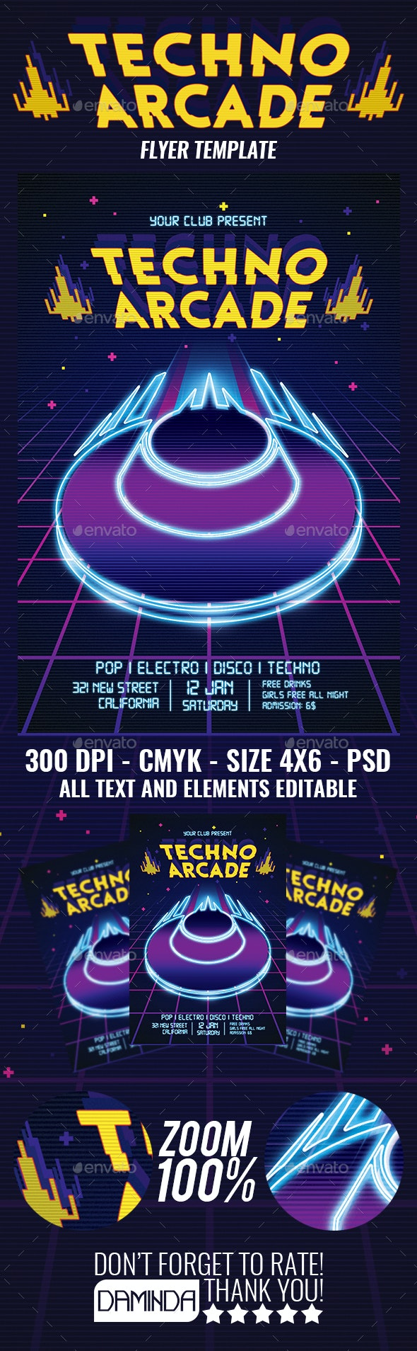 Techno Arcade 2019 Flyer Template - Clubs & Parties Events