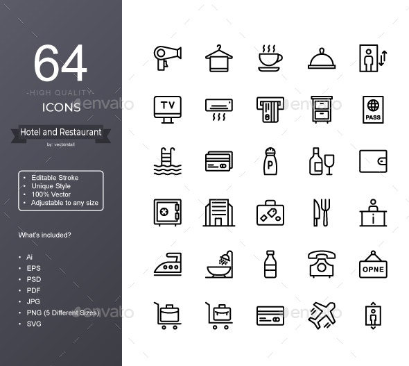 Hotel and Restaurant - Icons