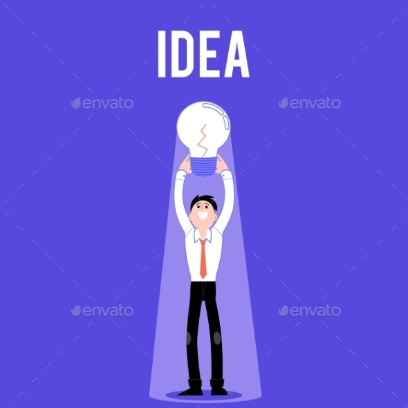 Vector Flat Business Man with Light Bulb Idea - People Characters