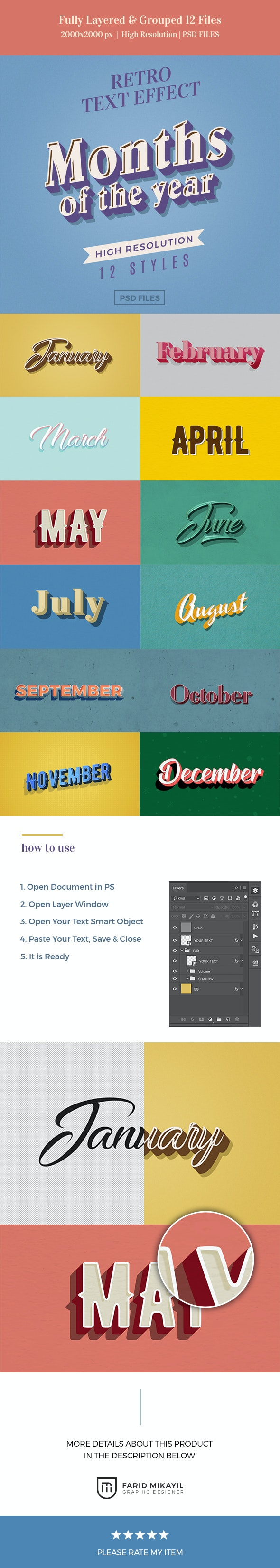 Months of the Year Retro Text Effects - Text Effects Actions