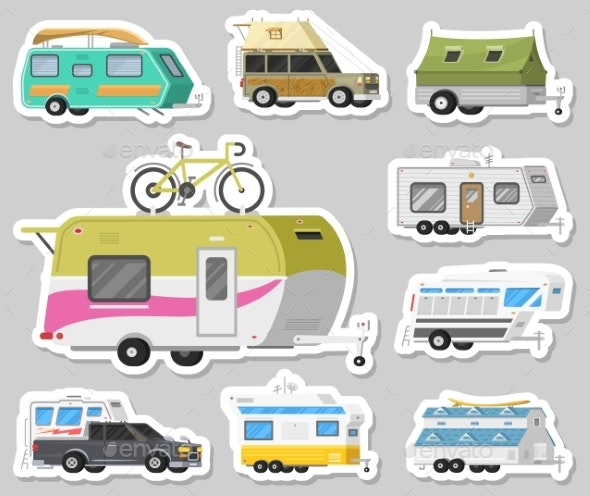 Set of Trailers or Family RV Camping Caravan - Man-made Objects Objects