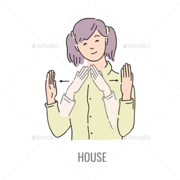 Vector Deaf Mute Sign Language Character Gesture - People Characters