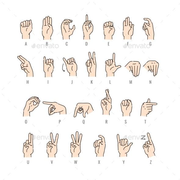 Vector Deaf Mute Alphabet with Hand Gestures Set - Miscellaneous Conceptual