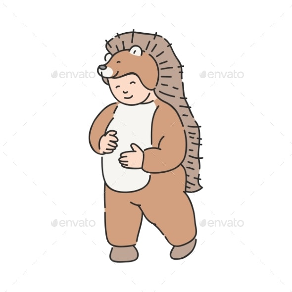Vector Illustration of Kid in Animal Suit - Seasons/Holidays Conceptual