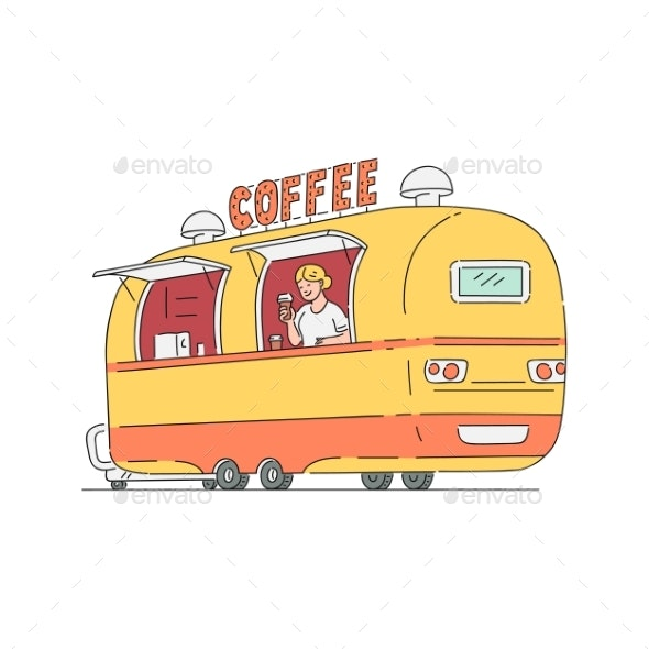 Vector Sketch Street Coffee Van in Vintage Style - Man-made Objects Objects