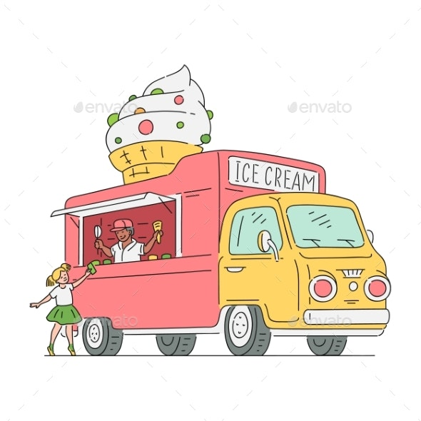 Vector Sketch Ice Cream Van in Vintage Style - Man-made Objects Objects