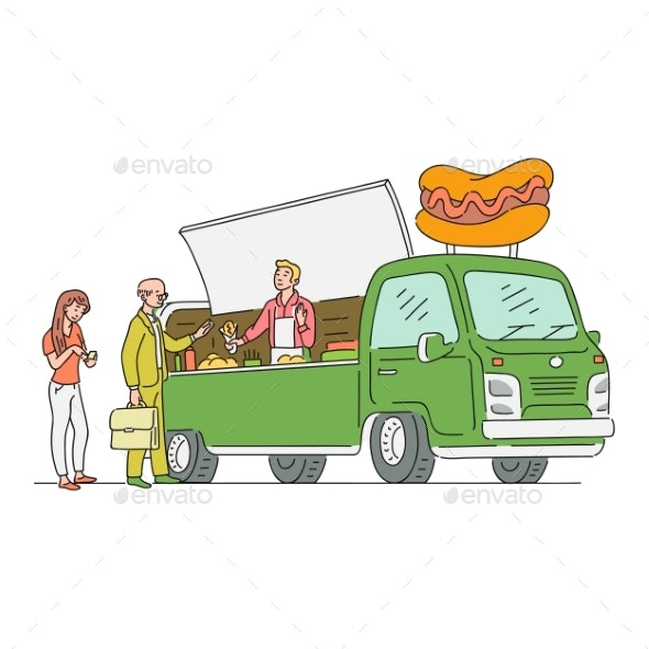 Vector Sketch Hotdog Van in Vintage Style - Man-made Objects Objects