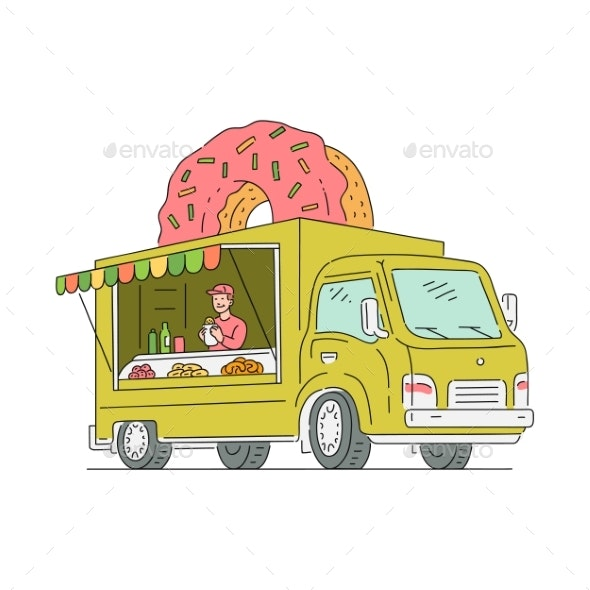 Vector Sketch Doughnut Van in Vintage Style - Man-made Objects Objects