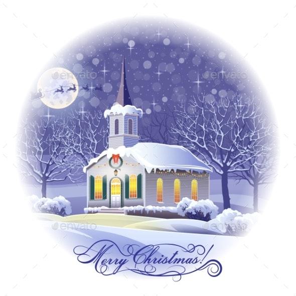 Night Winter Landscape Festively Decorated - Christmas Seasons/Holidays