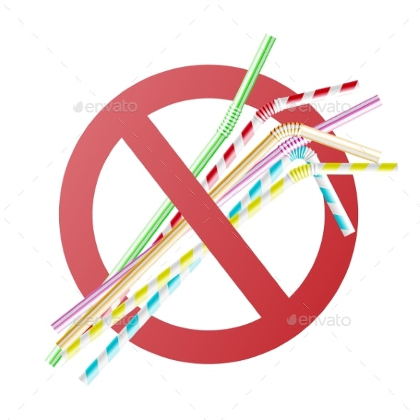 Vector No To Plastic Straw Concept in Cross Circle - Miscellaneous Conceptual