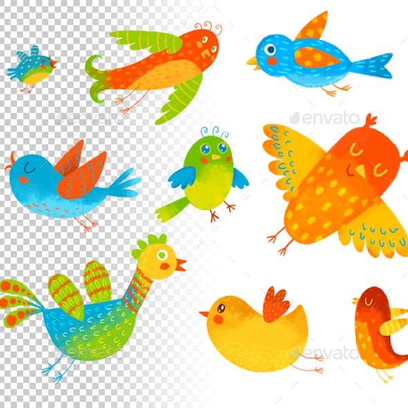 Funny Colorful Birdies