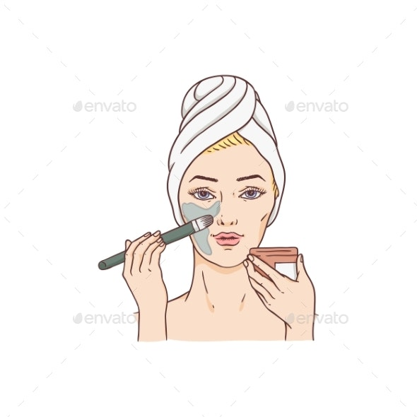 Vector Woman Applying Facial Mask - People Characters