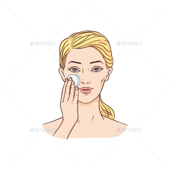 Vector Young Woman Removes Make-Up - People Characters