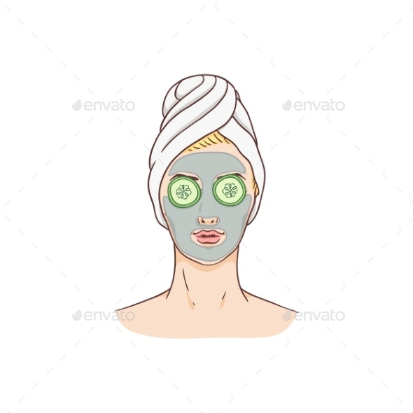 Vector Woman with Facial Mask and Cucumbers - People Characters