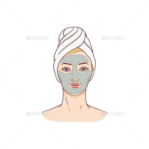 Vector Woman with Facial Mask - People Characters