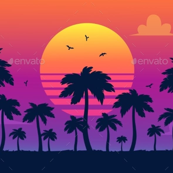 Vector Purple Sunset on Palm Icons Backdrop