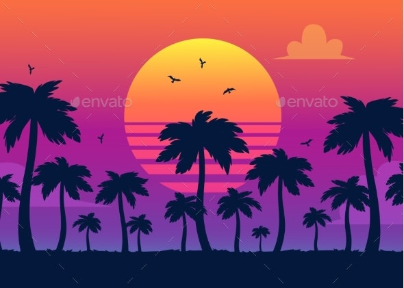 Vector Purple Sunset on Palm Icons Backdrop - Backgrounds Decorative