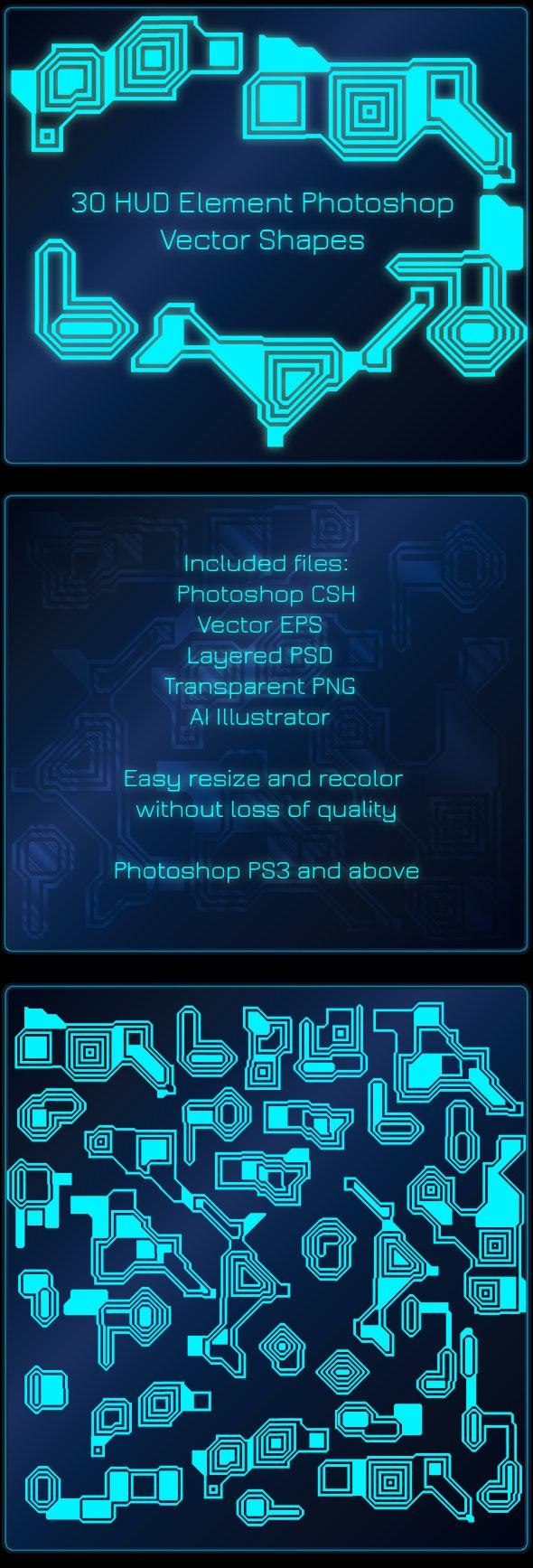 30 HUD Elements Vector Photoshop Shapes -  Hi-Tech Symbols - Symbols Shapes
