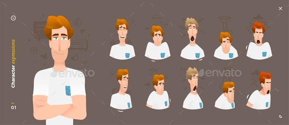Character Expressions Face Man Emotions - People Characters