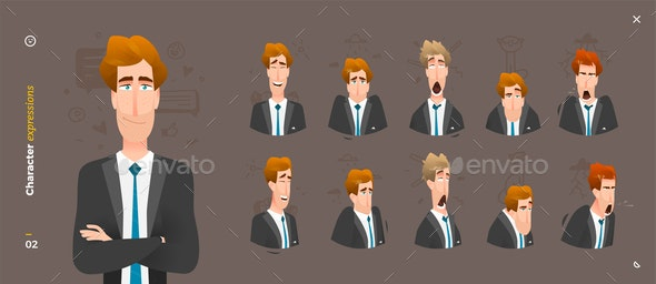 Man Character Expressions - People Characters