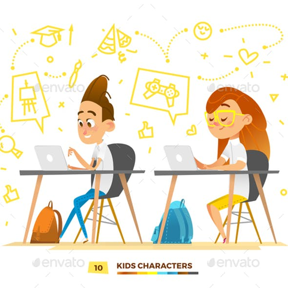 Boy and Girl Characters Studying