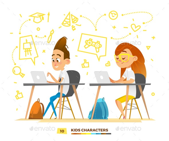 Boy and Girl Characters Studying - People Characters