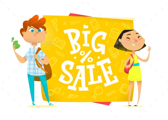 Big Sale Poster for School - People Characters