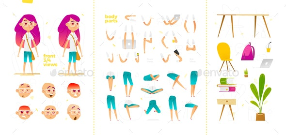 Young School Girl Character for Motion Design - People Characters