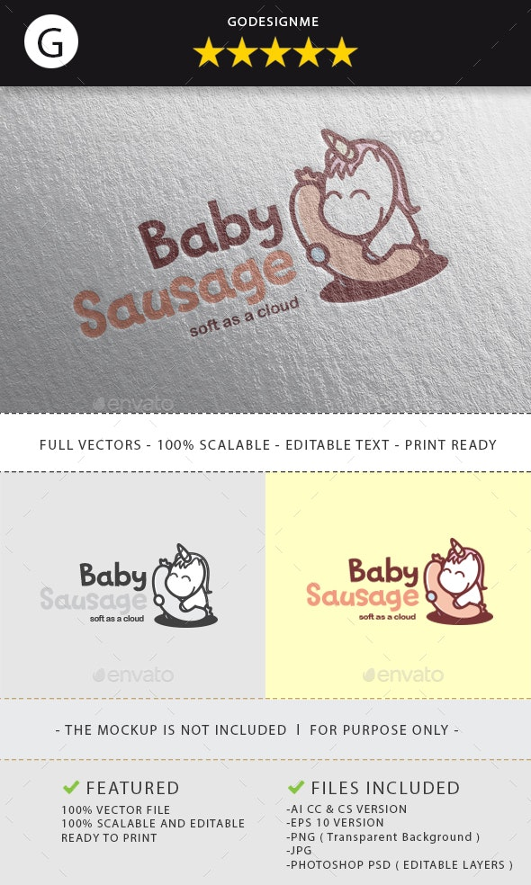 Baby Sausage Logo Design - Animals Logo Templates