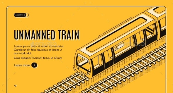 Vector Concept Banner with Unmanned Electric Train - Miscellaneous Vectors