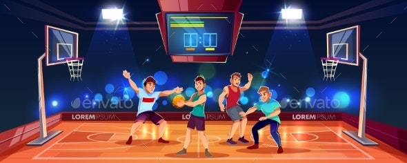Vector Background with People Playing Basketball - Sports/Activity Conceptual