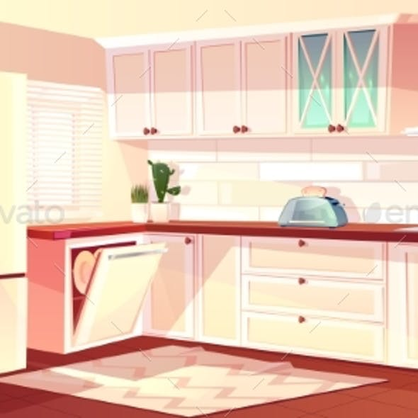 Vector Cartoon Bright Kitchen in Pink Colors